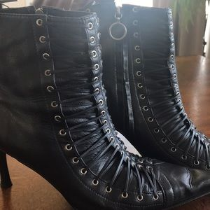 Shoes - Black pelica leather ankle studded boots